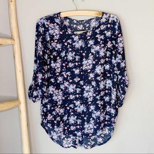 Blue floral gathered sleeve slit back blouse
